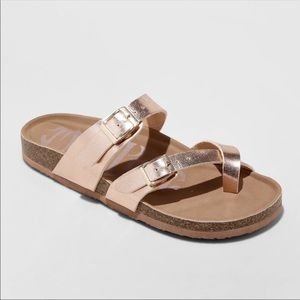 Mad Love Rose Gold Prudence Footbed Sandals 8M